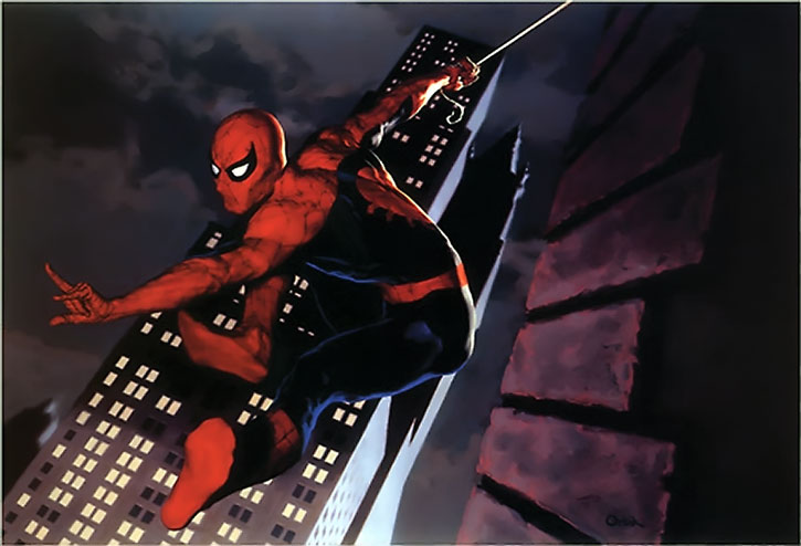 Spider-Man (Peter Parker) swinging above New York, painted art