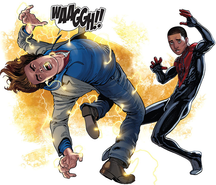 Spider-Man (Miles Morales) shooting lightning