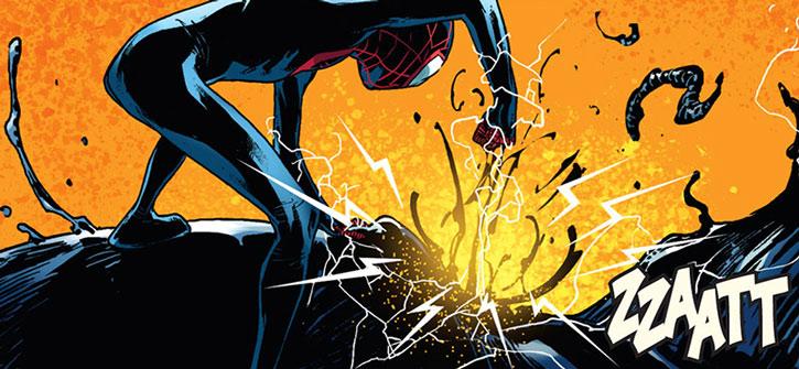 Spider-Man (Miles Morales) wrecking a machine