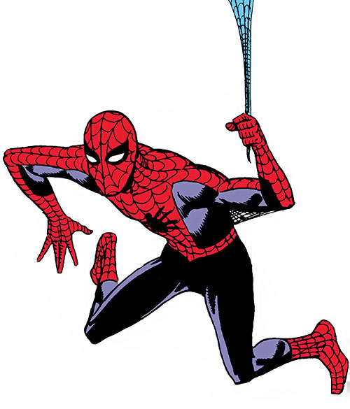 Early Spider-Man (Marvel Comics Lee Ditko) hanging from his web line