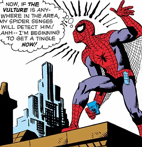 Early Spider-Man (Marvel Comics Lee Ditko) camera and spider-sense tingling