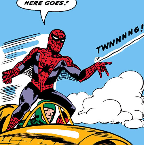 Early Spider-Man (Marvel Comics Lee Ditko) shooting web from a jet fighter