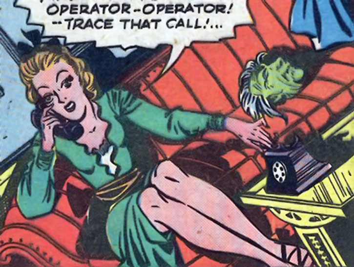 The Spider Widow (Dianne Grayton) in her civvies on the phone