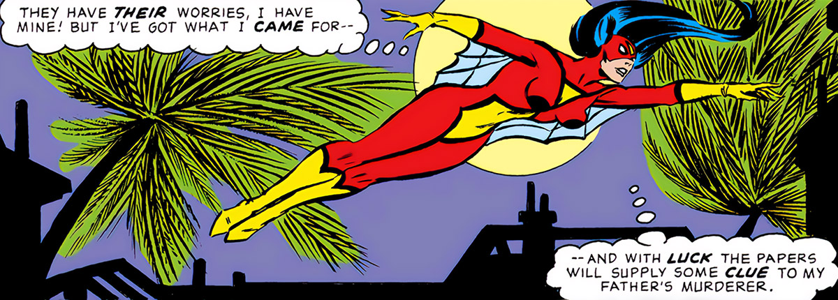 Spider-Woman (Marvel Comics) (Jessica Drew) (Wolfman Infantino era) flying low in the night