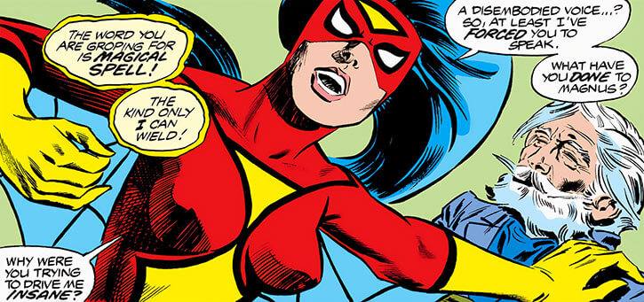 Spider-Woman (Marvel Comics) (Jessica Drew) (Wolfman Infantino era) with Magnus