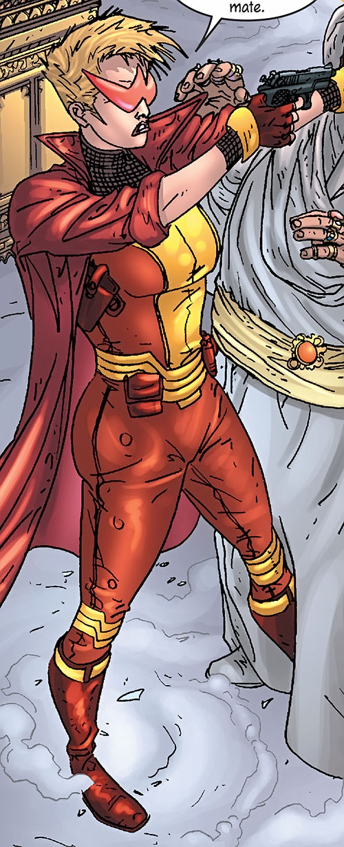 Spitfire of the New Invaders (Marvel Comics) (Jacqueline Falsworth) in the red and gold costume