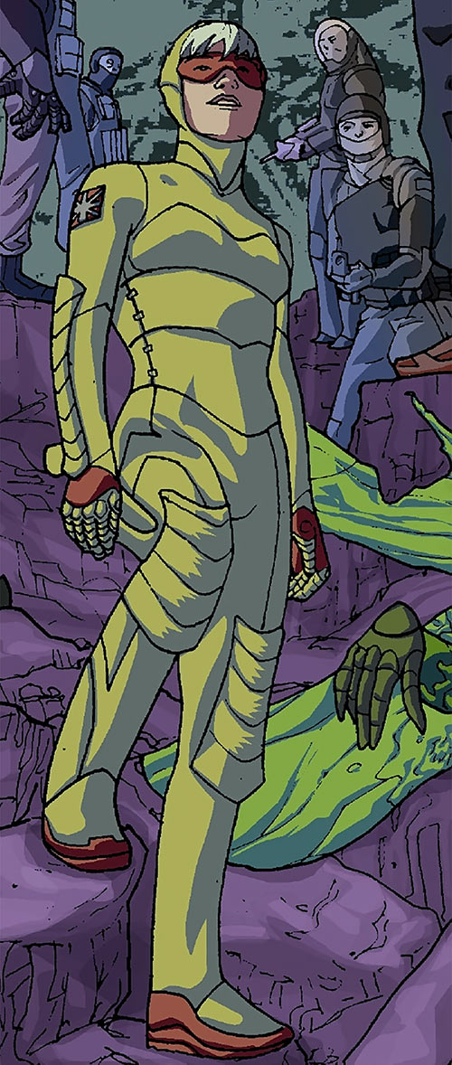Spitfire of the New Invaders (Marvel Comics) (Jacqueline Falsworth) in the yellow costume