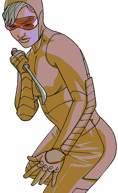 Spitfire of the New Invaders (Marvel Comics) (Jacqueline Falsworth) ready to fight with a kukri