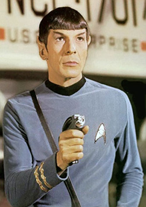 Spock (Leonard Nimoy in Star Trek) with a phaser