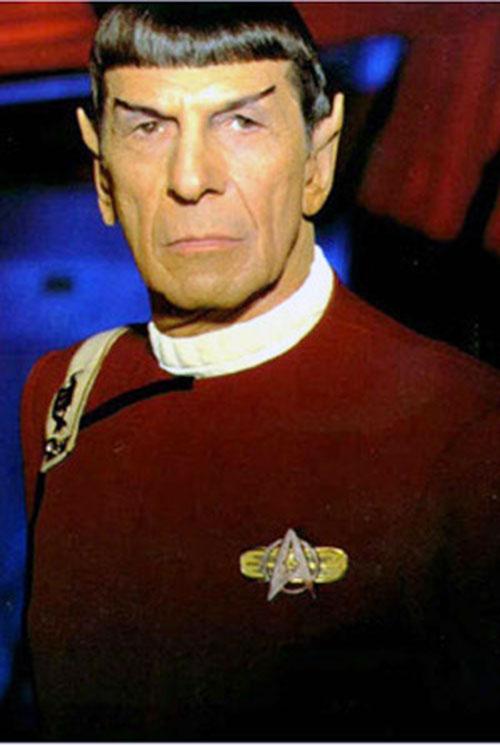 Spock (Leonard Nimoy in Star Trek) in a red uniform