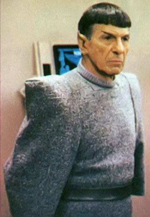 Spock (Leonard Nimoy in Star Trek) in a grey woollen suit