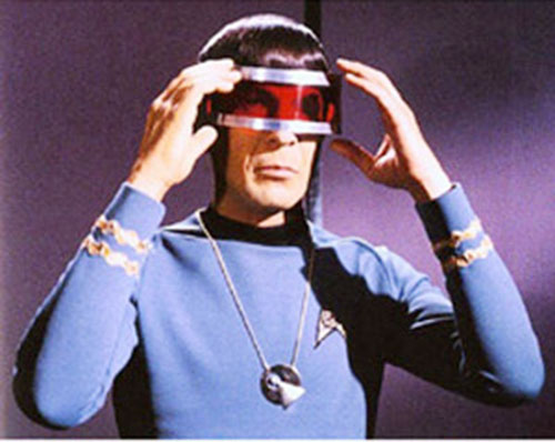 Spock (Leonard Nimoy in Star Trek) with a red visor