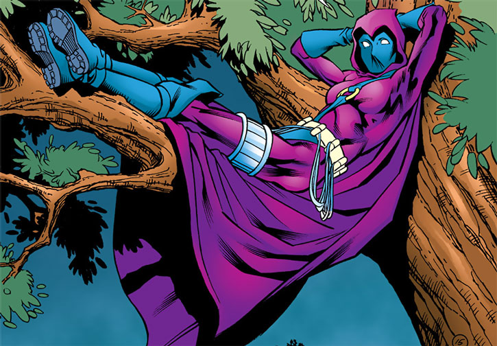 Spoiler (Stephanie Brown) sitting in a tree