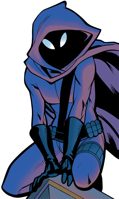Spoiler (Stephanie Brown) (1990s DC Comics) (Batman / Robin character) perched on roof corner