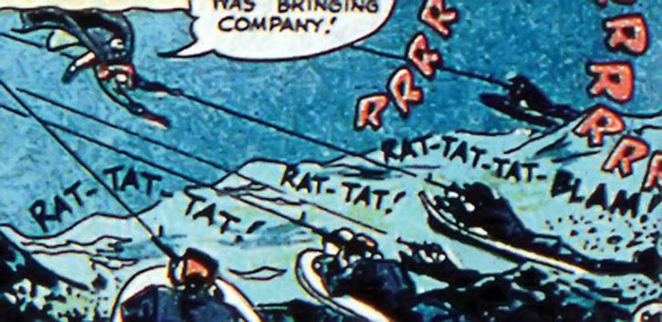 Sportsmaster's henchmen chasing Green Lantern Alan Scott on motorized surfboards