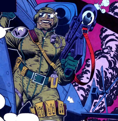 Sprocket (Marvel Comics) (New Warriors) with gun and helicopter