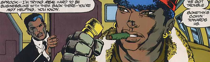 Sprocket (Marvel Comics) (New Warriors) piloting a jet
