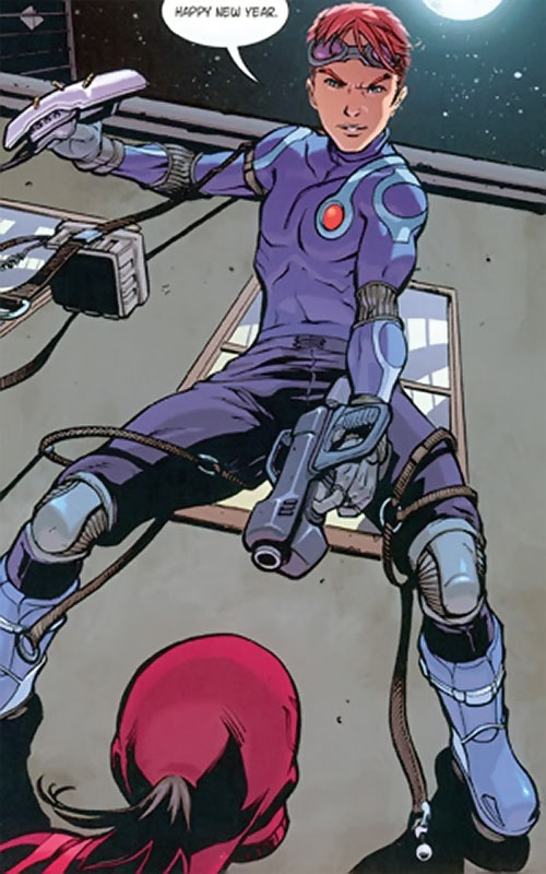 Spyboy (Peter David comics) pointing his gun while in rappelling gear