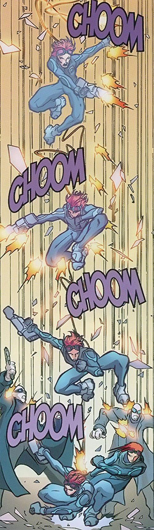 Spyboy (Peter David comics) shooting while dropping down