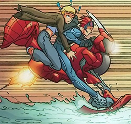 Spyboy (Peter David comics) and Bombshell on a strange snow motorcycle