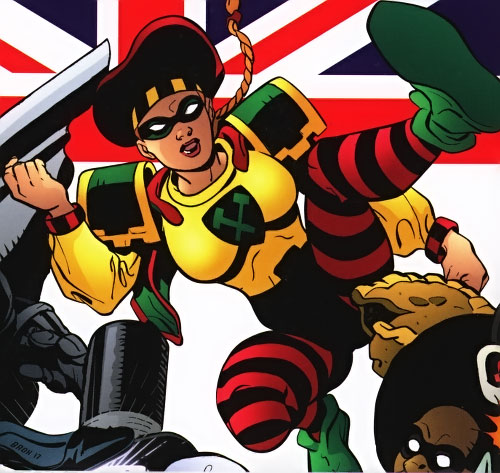 Squire (Batman ally) (Knight and Squire) (DC Comics) waving and an Union Jack
