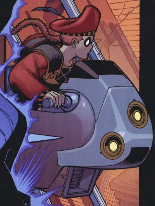Squire (Batman ally) (Knight and Squire) (DC Comics) on a flying motorbike