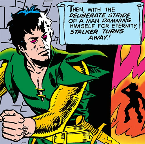 Stalker (DC Comics Implosion) turns away from the flames, by Ditko