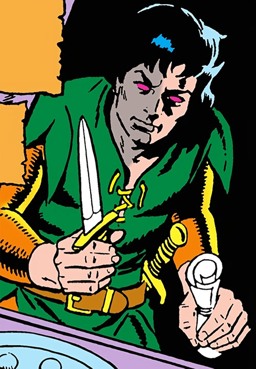 Stalker (DC Comics Implosion) with a throwing dagger, by Ditko