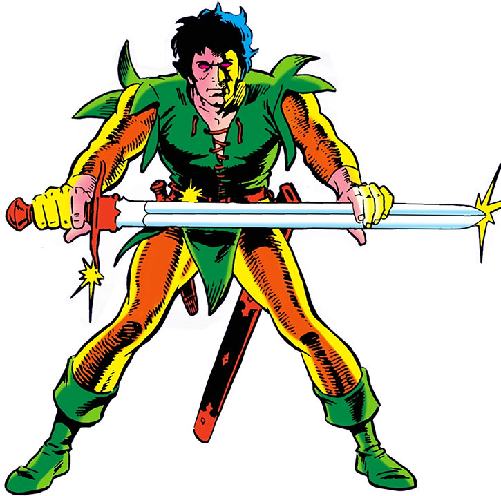 Stalker posing with a large sword on a white background, by Steve Ditko