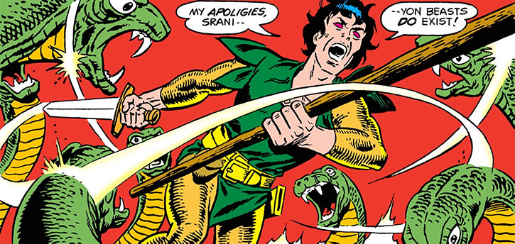 Stalker fighting snakes with staff and sword, by Steve Ditko