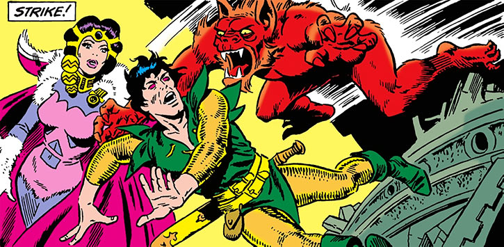 Stalker attacked by a demon, by Steve Ditko