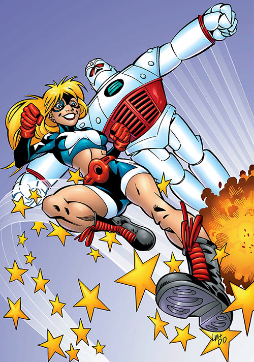 Star-Spangled Kid (Courtney Whitmore) (early, pre-Stargirl) (DC Comics) leaping, and STRIPE