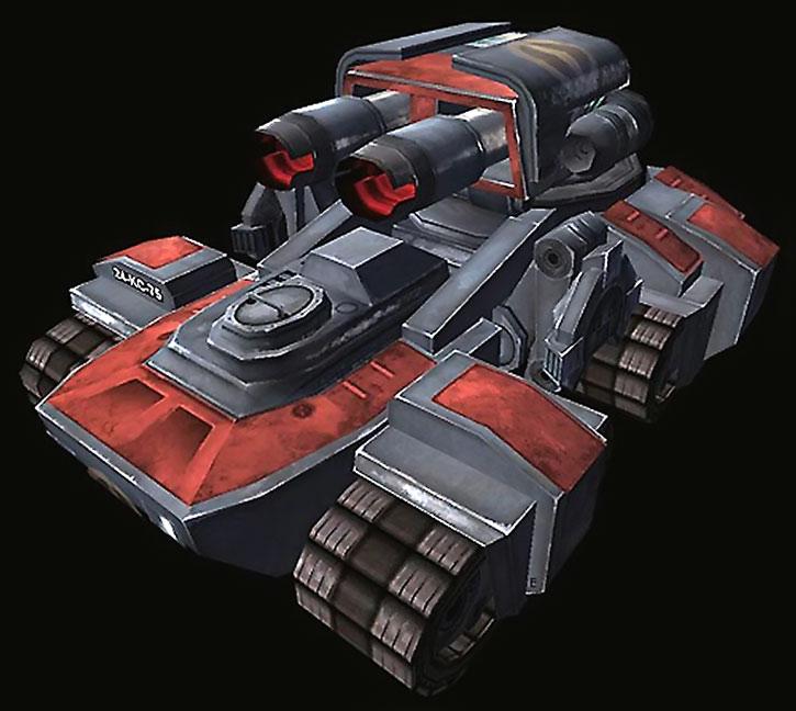 A Terran siege tank in Starcraft