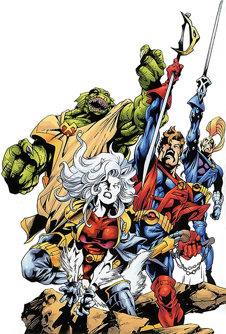 The Starjammers brandishing their weapons