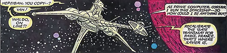 The HMSS Starjammer starship in space, near a violet planet