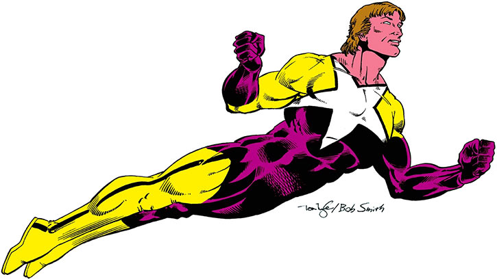 Starman (Will Payton) with the yellow and violet costume, flying on a white background