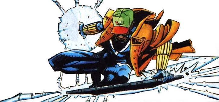 Static (Virgil Hawkins) flying on a trash can lid