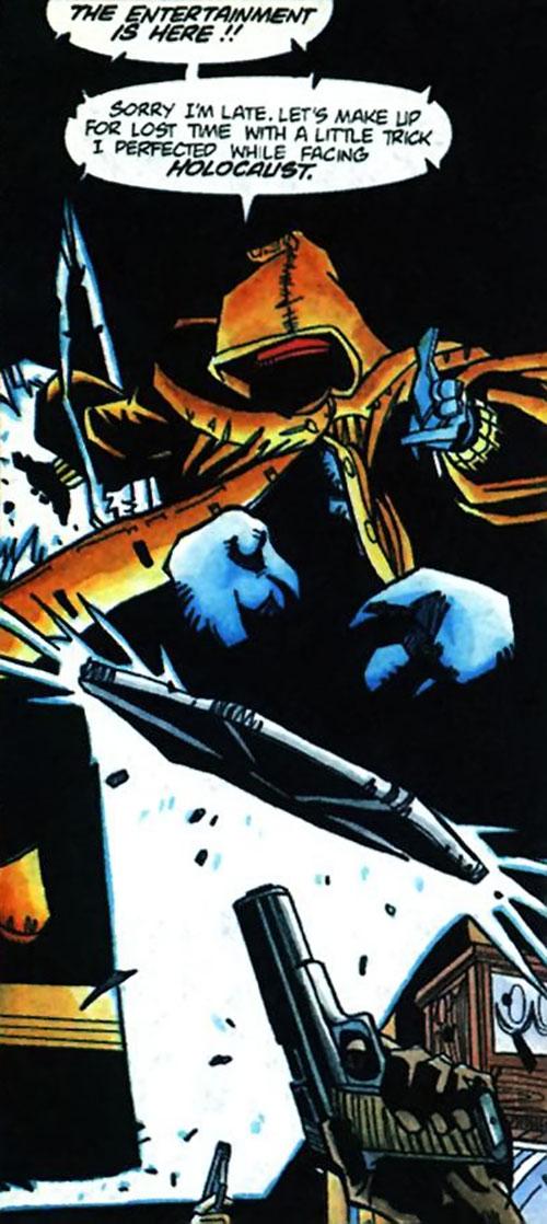 Static (Milestone Comics) with an orange hooded coat