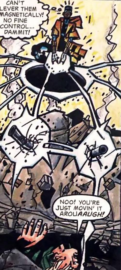 Static (Milestone Comics) attempts to lift wrecked masonry