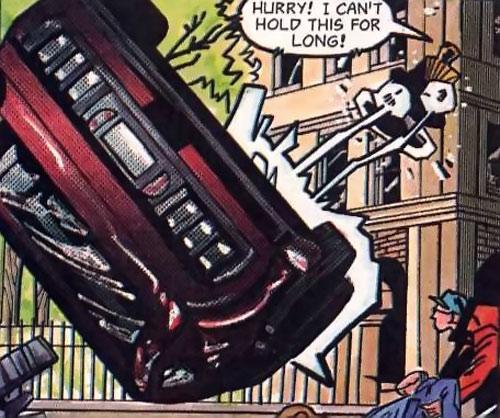 Static (Milestone Comics) lifting a car
