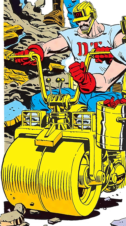 Steamroller on his strange vehicle