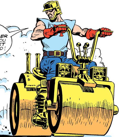 Steamroller of the Demolition Team (DC Comics) driving around