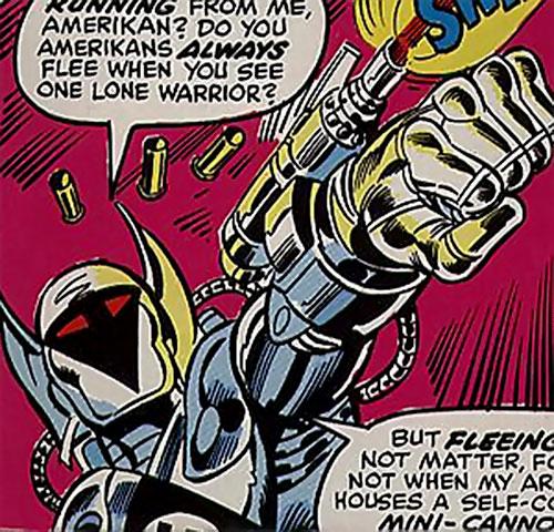 Steel Kommando (Marvel Comics) shooting his arm gun