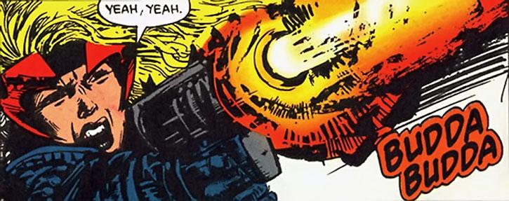 Steel Raven (Aranda Charboneau) shooting her pistol