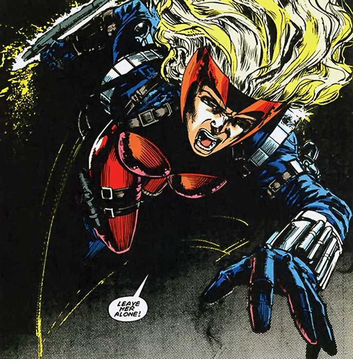 Steel Raven (Aranda Charboneau) leaping in with a tonfa