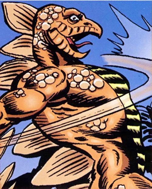 Stegron (Marvel Comics) delivers a backhand