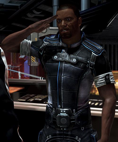 Steve Cortez (Mass Effect) saluting