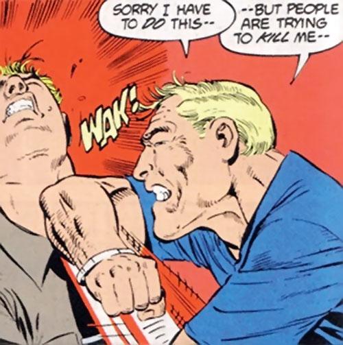 Steve Trevor (Wonder Woman ally) (Post-Crisis DC Comics) elbowing a guy