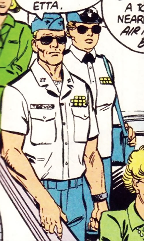 Steve Trevor (Wonder Woman ally) (Post-Crisis DC Comics) and Etta Candy in uniform with sunglasses