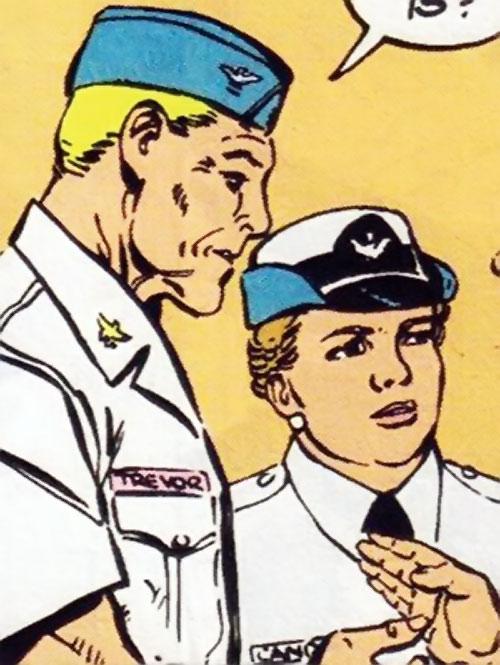 Steve Trevor (Wonder Woman ally) (Post-Crisis DC Comics) and Etta Candy in white uniform shirts
